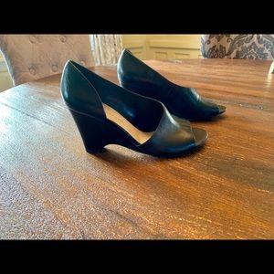 Franco Sarto Black Asymmetrical Wedged Heels